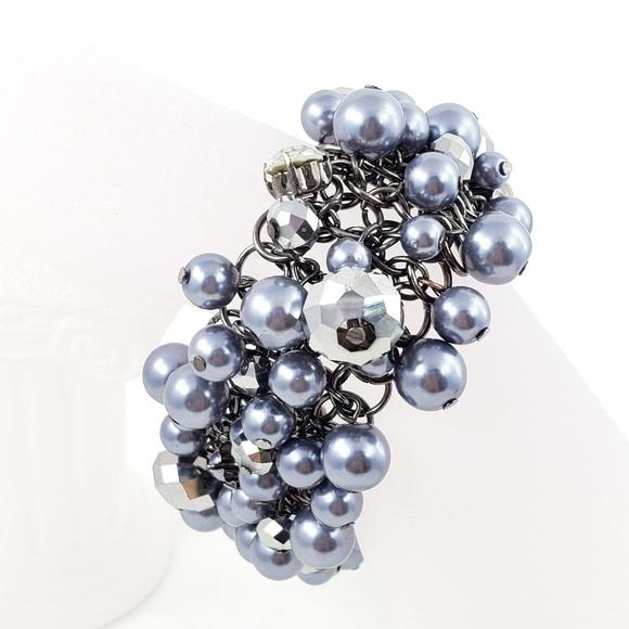 Simpy Vera Statement Bracelet Grey Pearls